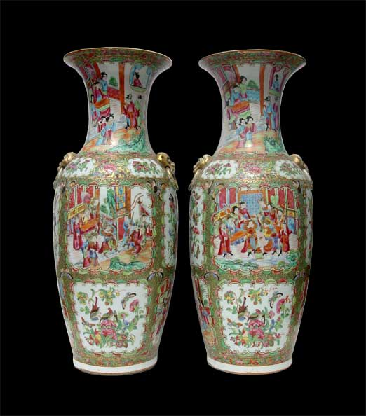 Pair of fine Rose Medallion Vases